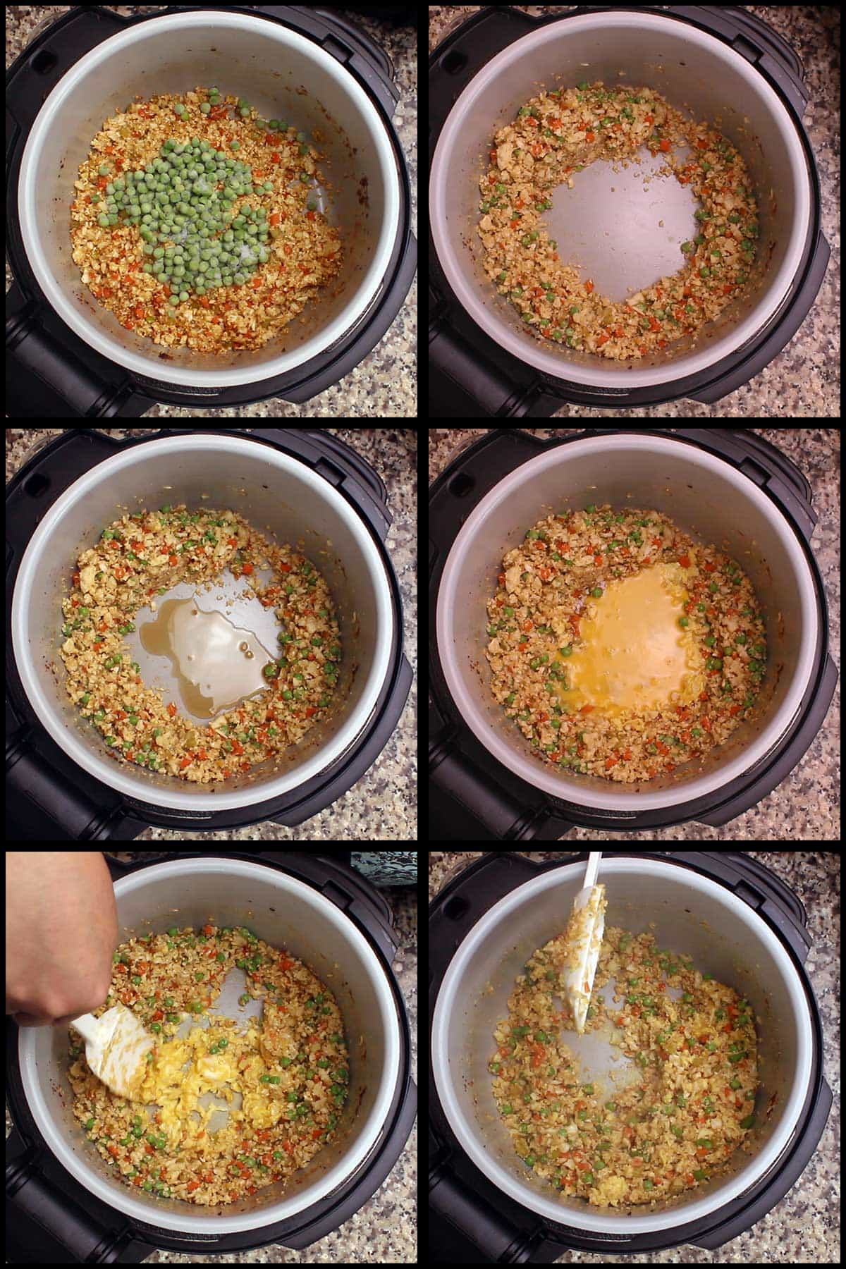 adding peas and scrambling eggs in the inner pot to finish the cauliflower fried rice