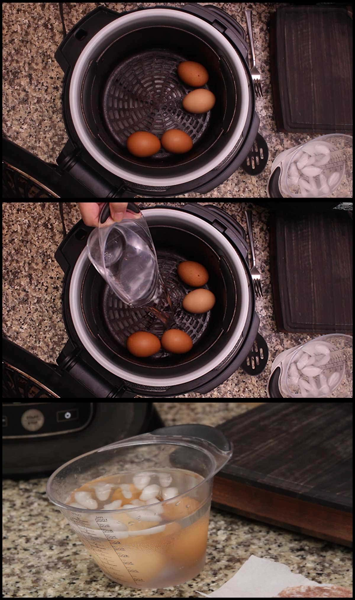 Putting the eggs in the basket to pressure cook and then into an ice bath