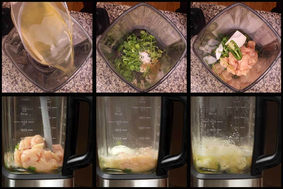 showing the steps of adding ingredients to the blender to cook the chicken cubes