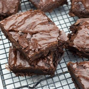 brownies cut on a cooling rack