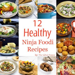 graphic showing pictures of healthy recipes made in the Ninja Foodi