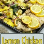 lemon rosemary chicken with potatoes and veggies on the sheet pan after being cooked.