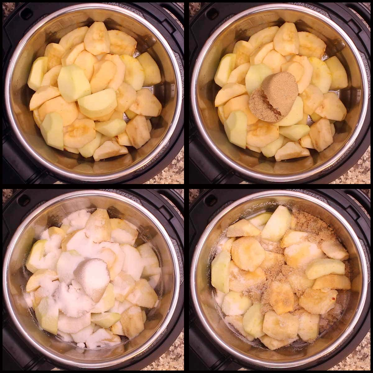 adding apples and sugar to inner pot