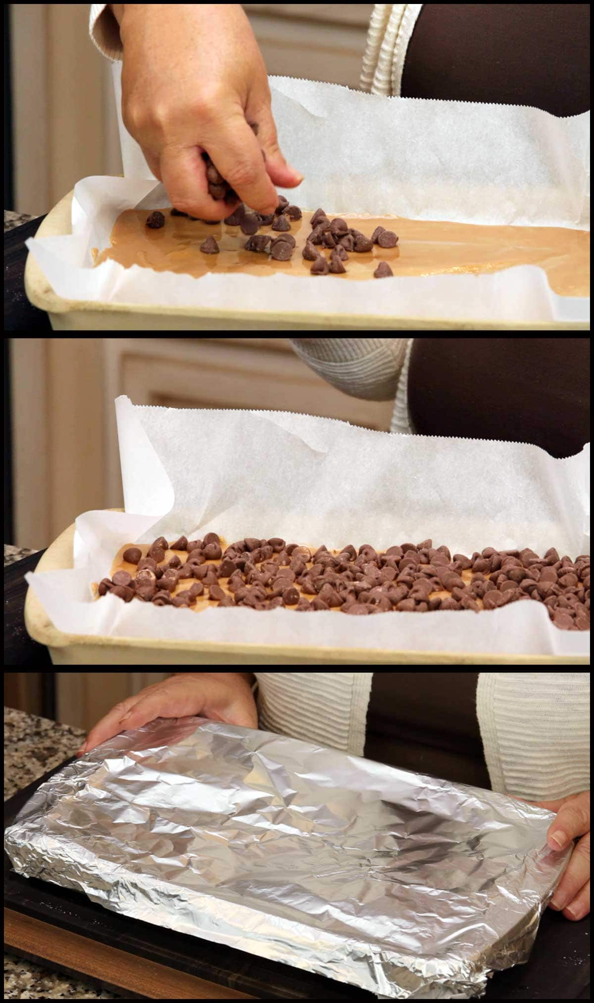 Adding the chocolate chips to the top of the toffee and covering with foil