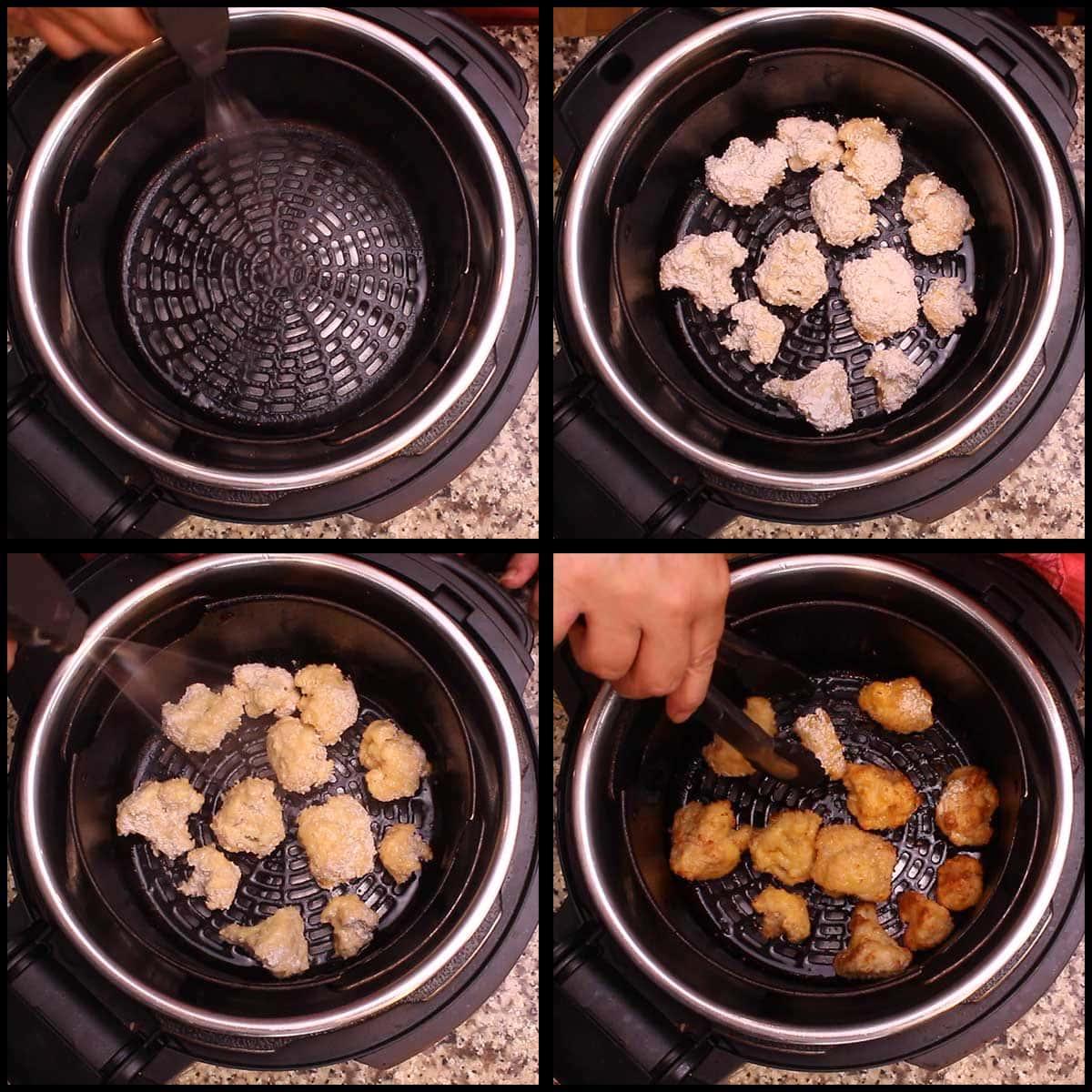 air frying the cauliflower