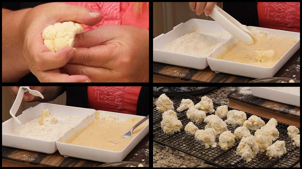 breading the cauliflower