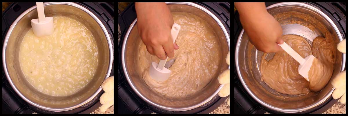showing the darkening of the toffee as it boils