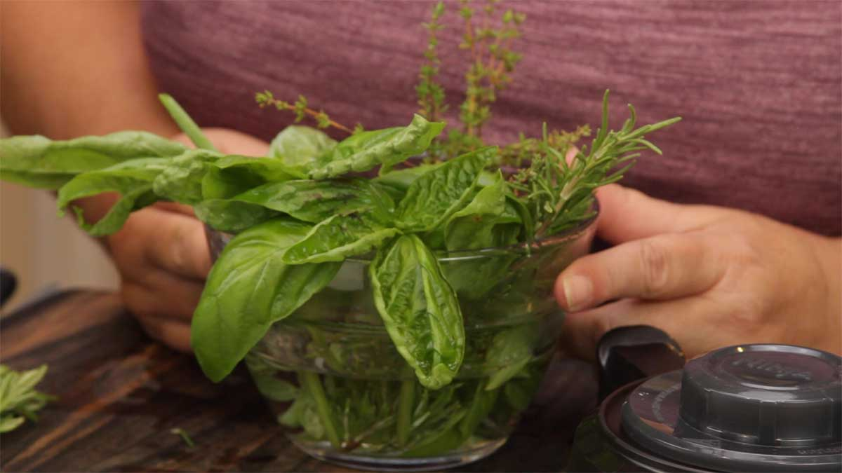 bowl of fresh herbs