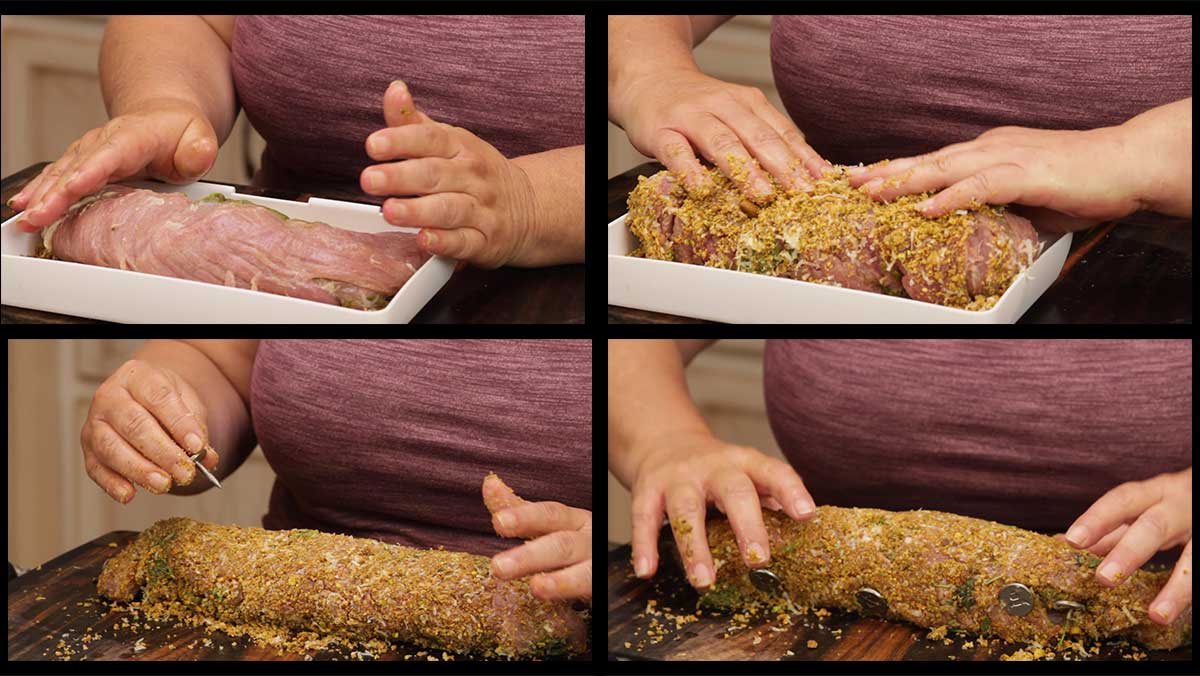 breading the pesto stuffed pork tenderloin