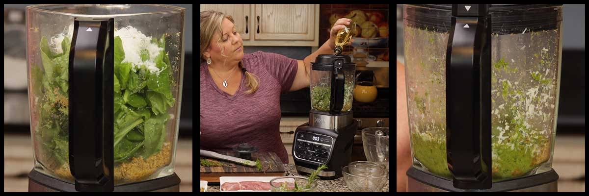 making the pesto in the blender