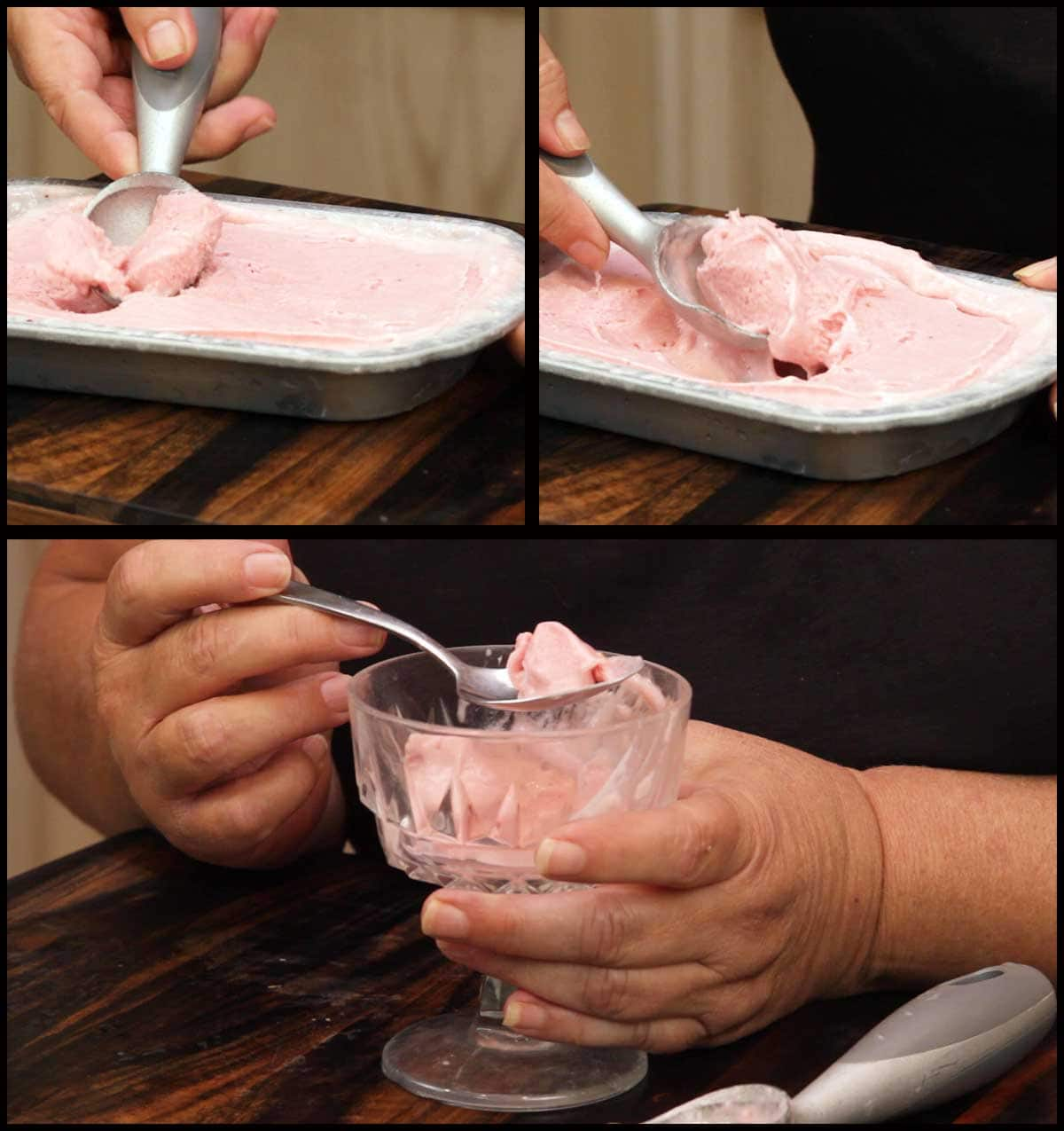 scooping and serving homemade strawberry ice cream