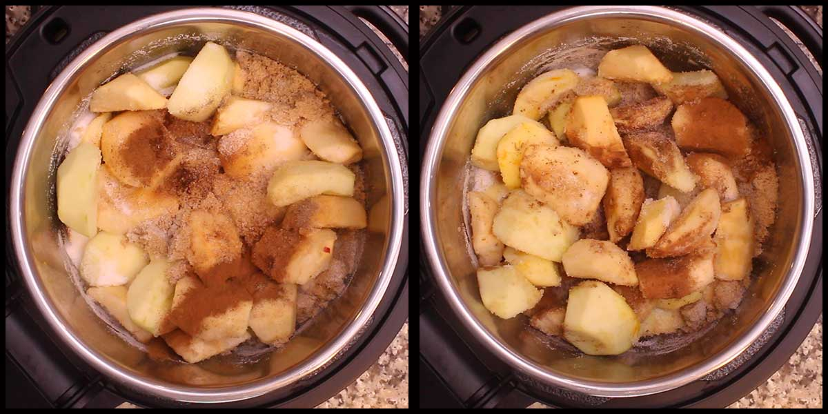 adding spices to the apples in the inner pot