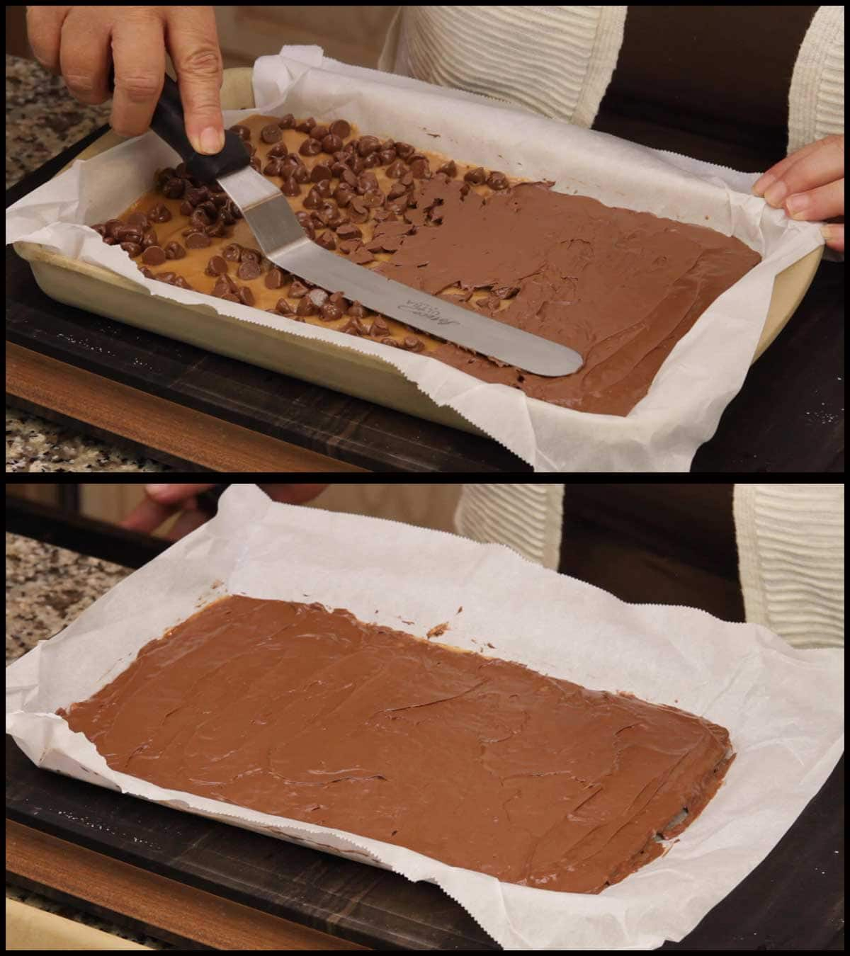 spreading the chocolate over the toffee