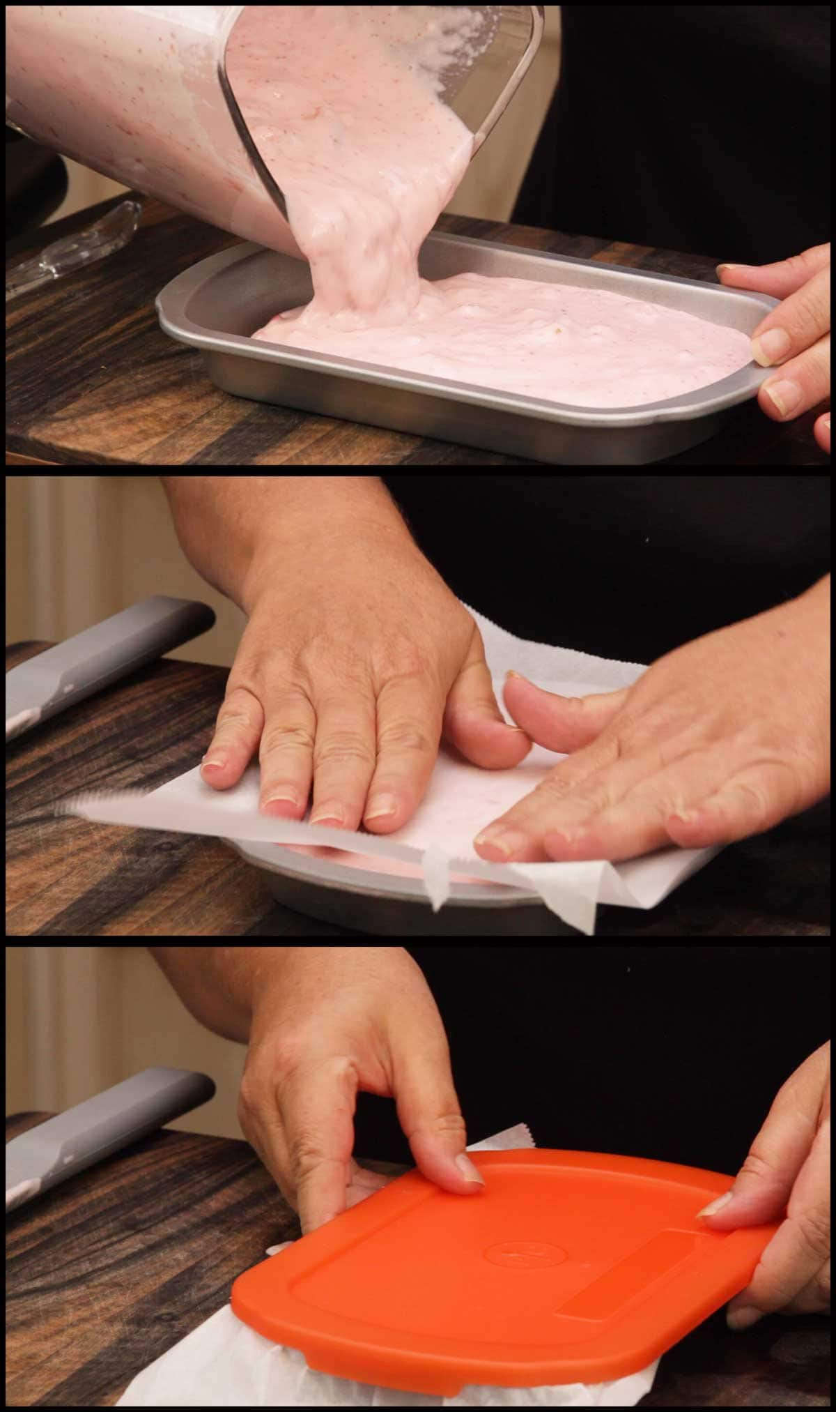putting ice cream into container and covering with parchment and lid for freezing