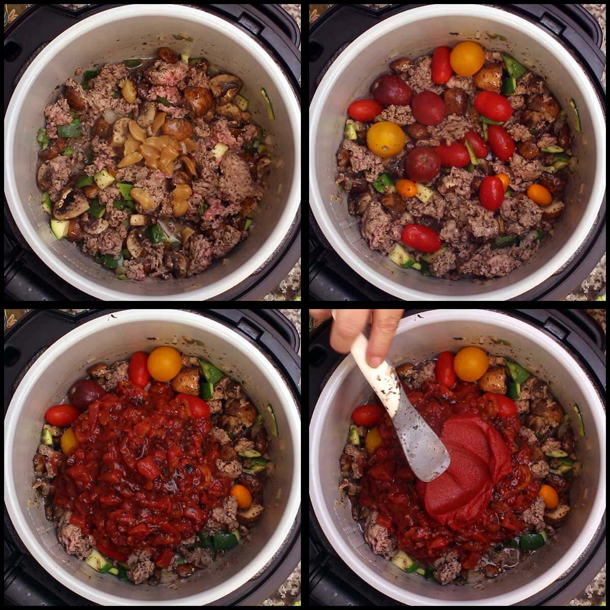 adding the remaining ingredients for the healthy spaghetti sauce