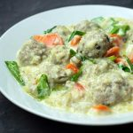 Greek Meatball Soup in a white bowl