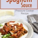 Healthy Spaghetti sauce over zoodles on a plate