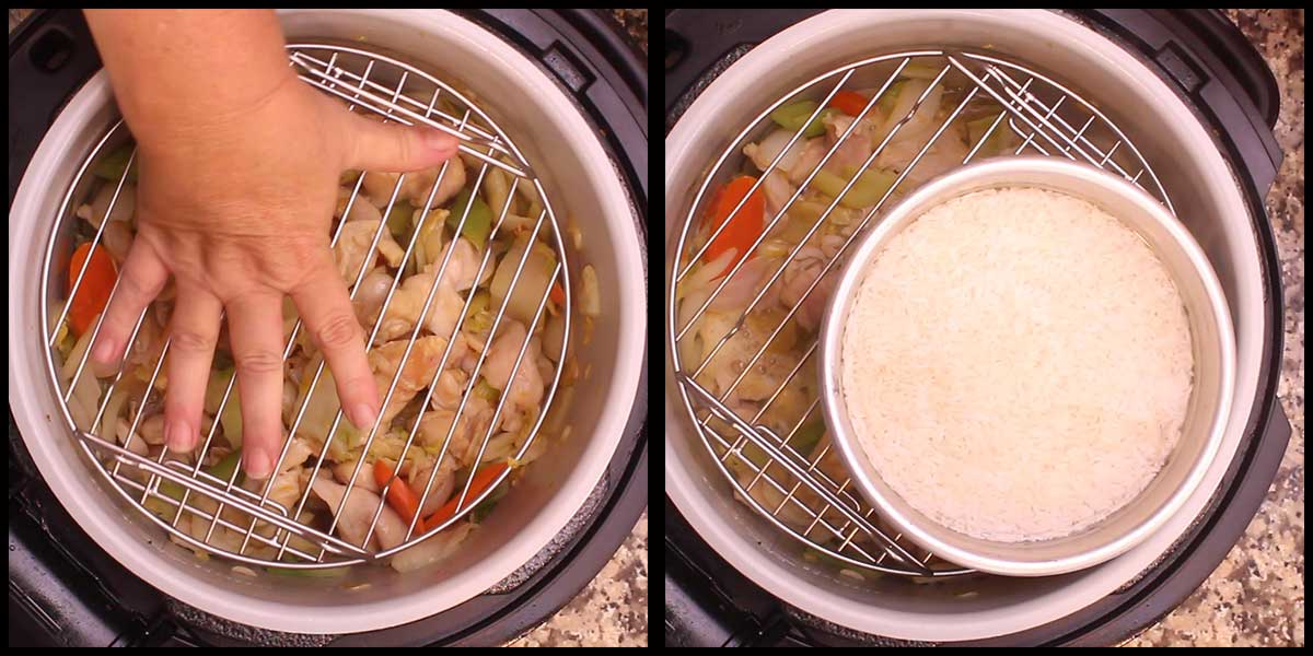 adding the rack and the rice to the inner pot before pressure cooking