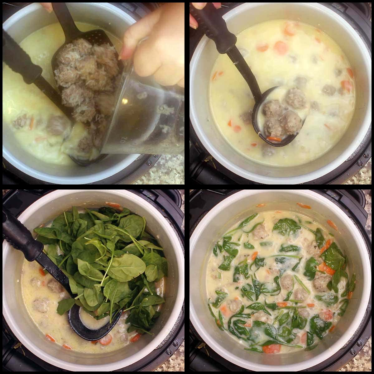 adding spinach to the greek meatball soup