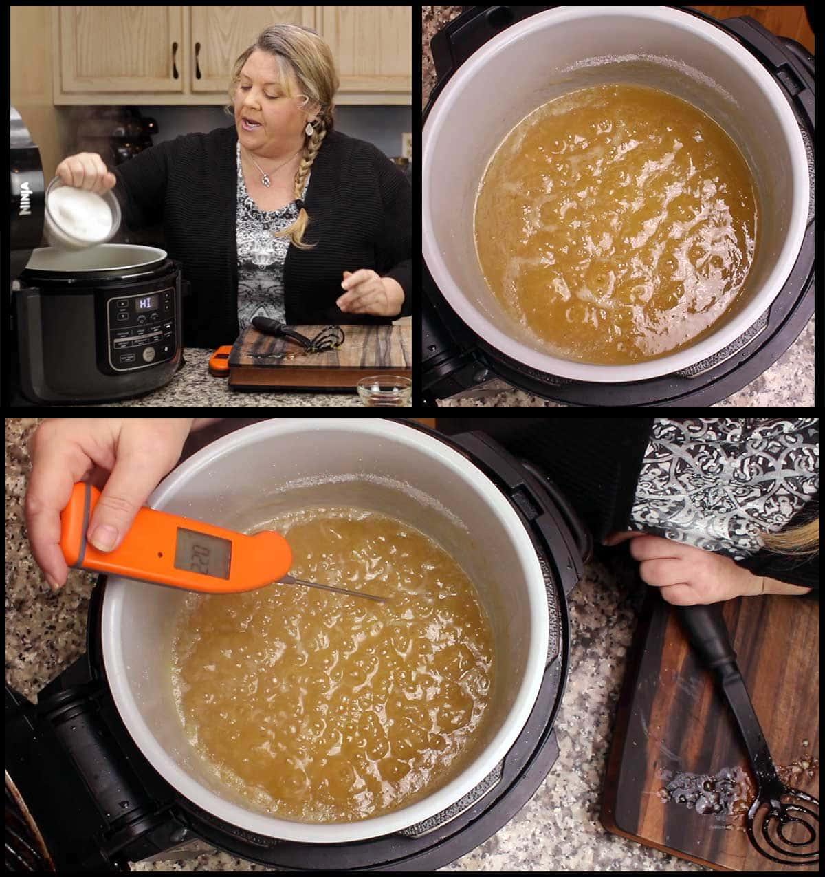 adding sugar and brining banana jam back up to 220 degrees