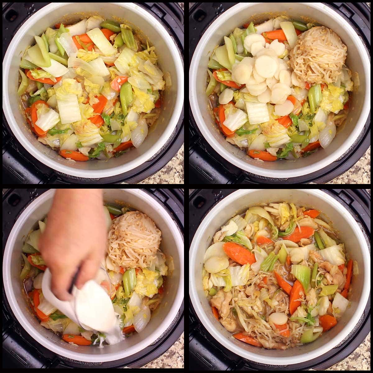 adding in the partially cooked veggies, bean sprouts, water chestnuts, and cornstarch slurry to the inner pot