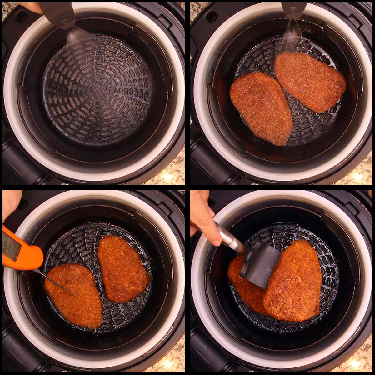 spritzing and cooking the pork chops in the Ninja Foodi