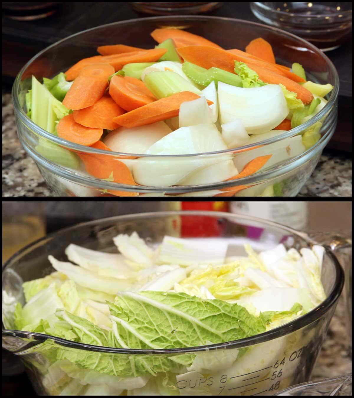 bowls of cut up vegetables