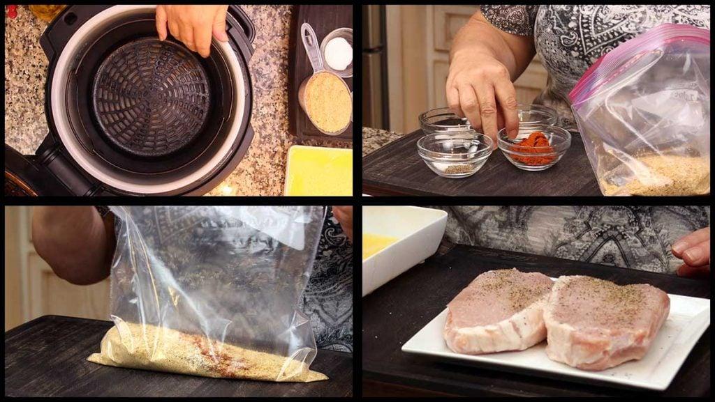 mixing up the shake n bake mixture and seasoning the pork chops