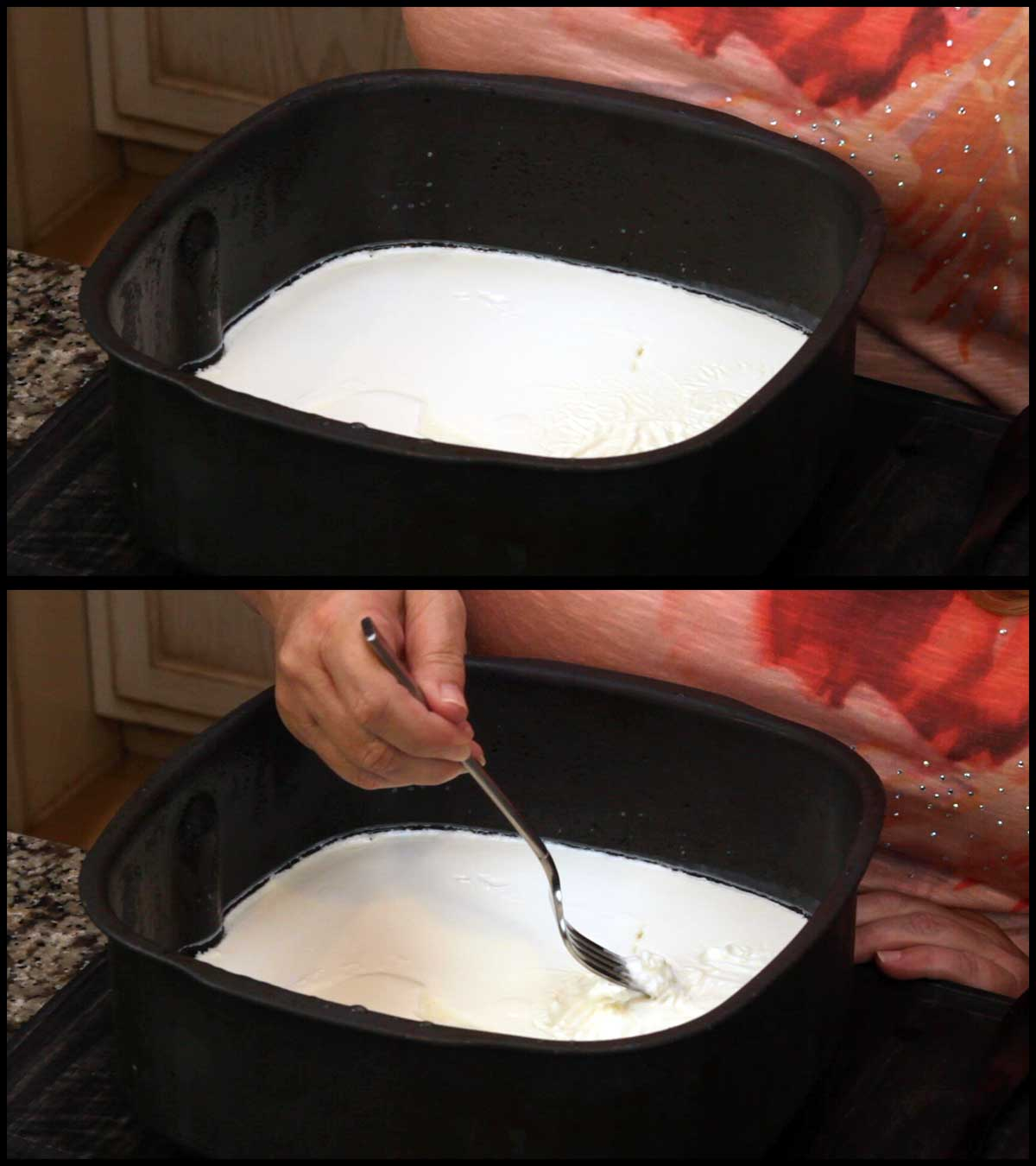 removing the skin from the yogurt