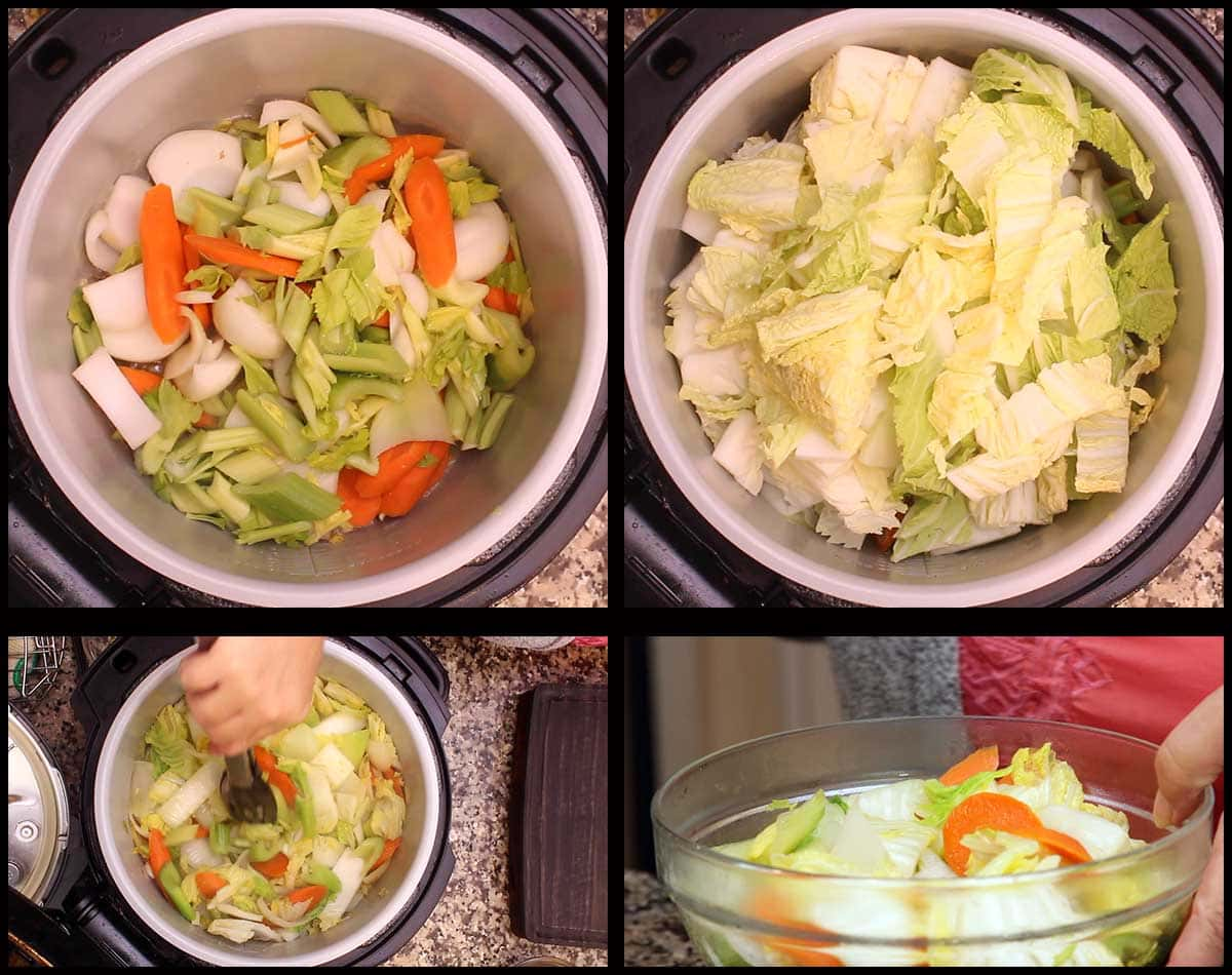 sauteing the vegetables and removing half before pressure cooking
