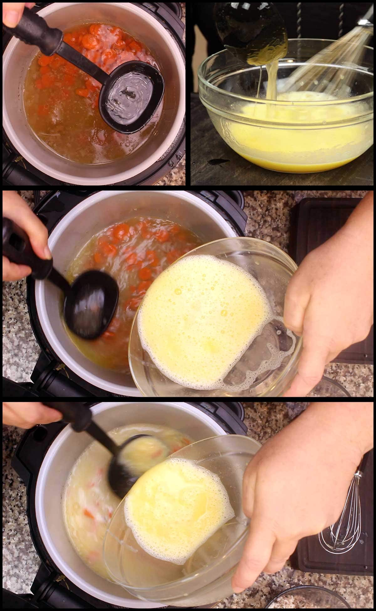 tempering the lemon sauce and adding it to the soup