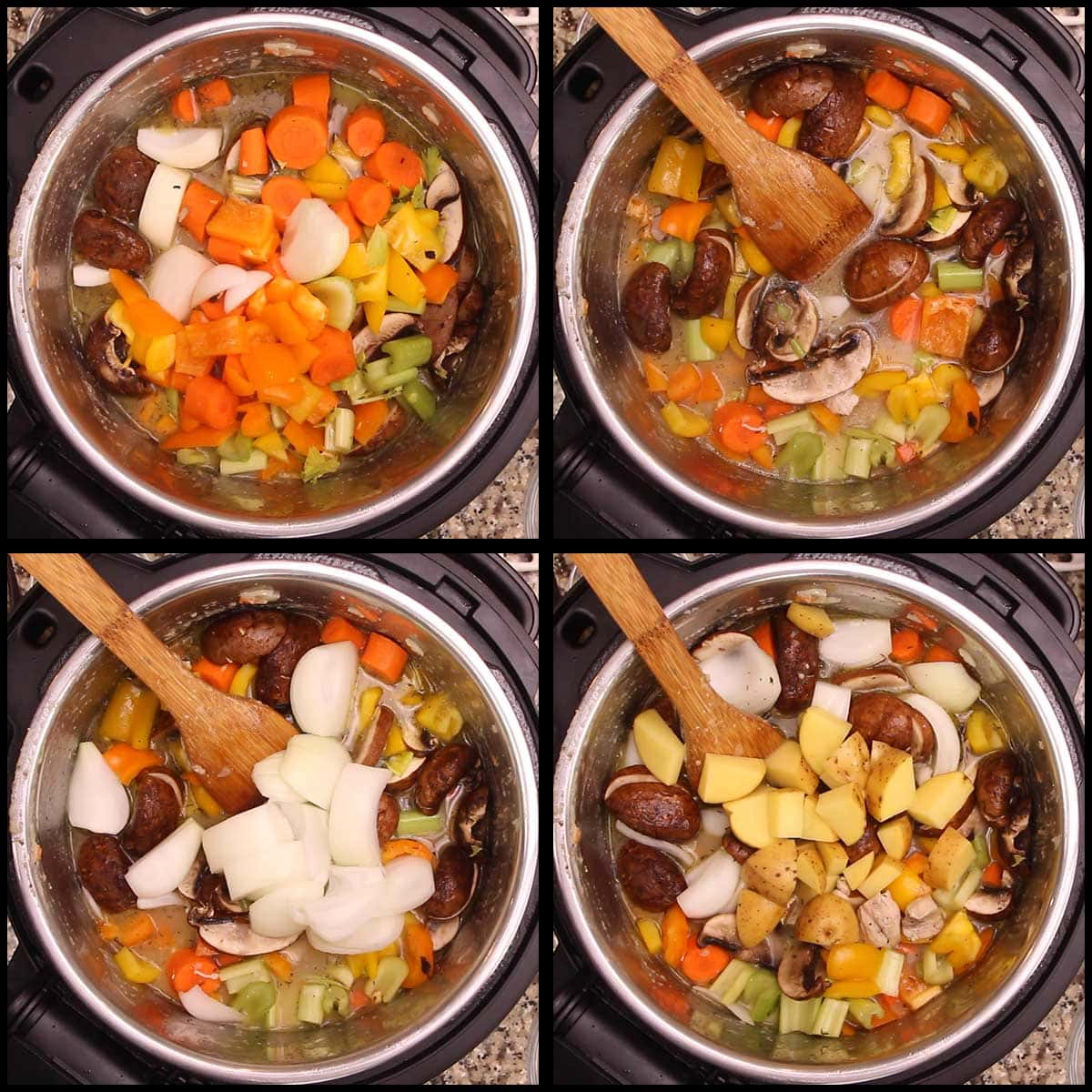 adding vegetables and potatoes to chicken stew