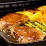 sheet pan pork chops with apples, potatoes, asparagus