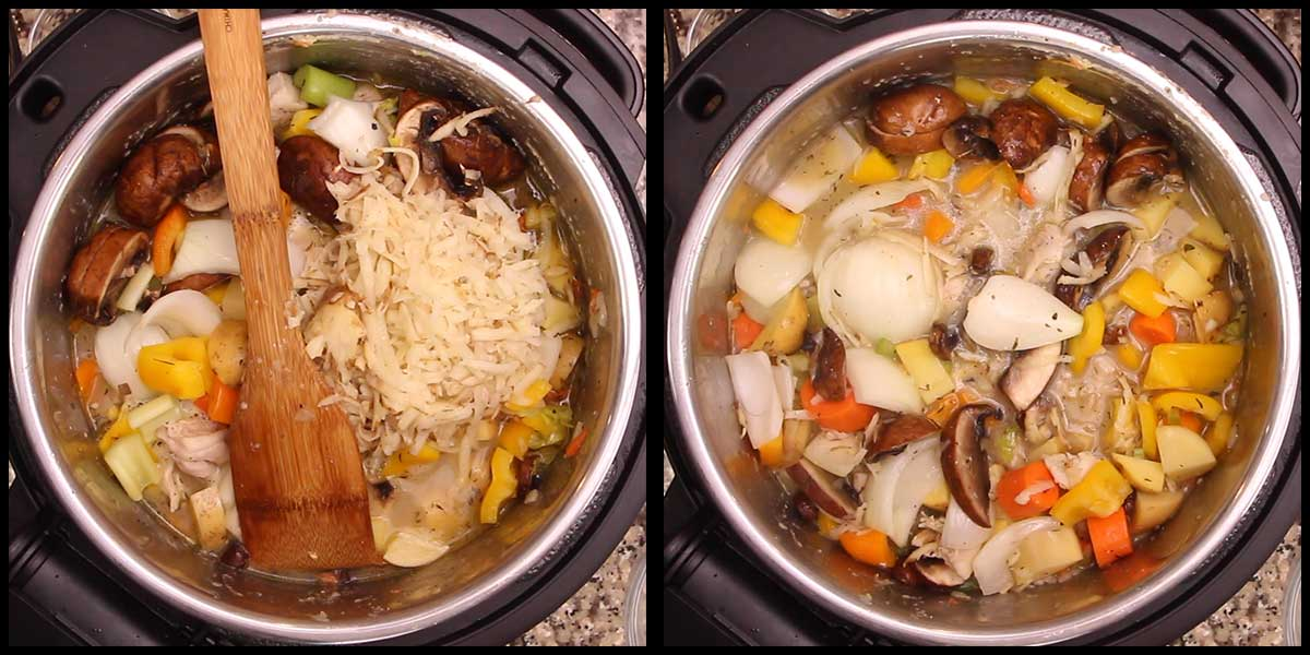 adding grated russet potato to the stew