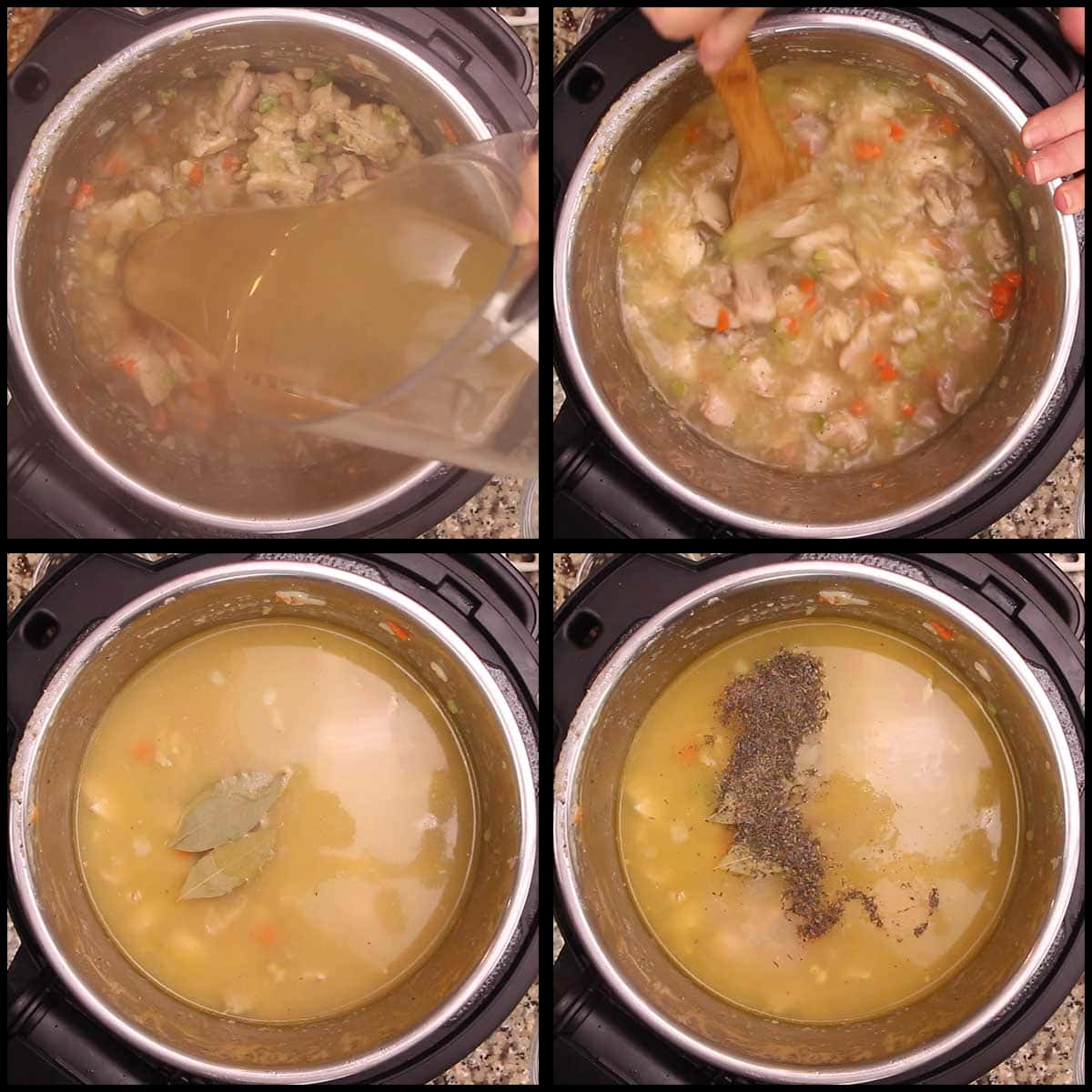 adding seasonings and stock to stew