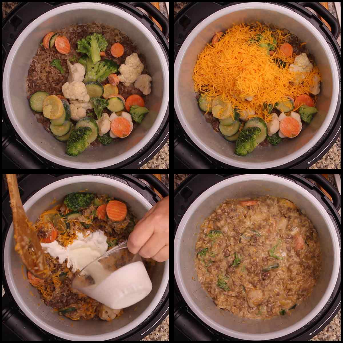 adding vegetables, cheese, and cream to the cheesy ground beef & rice casserole