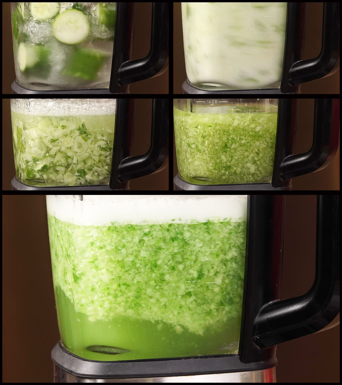 Blender with the chopped up cucumber and infused vodka