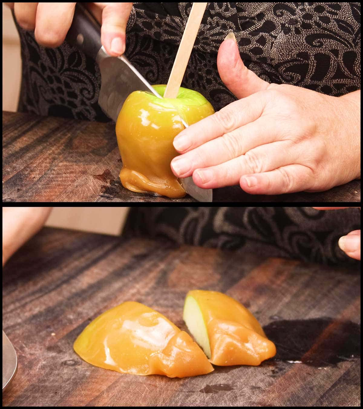 cutting the caramel apple to serve