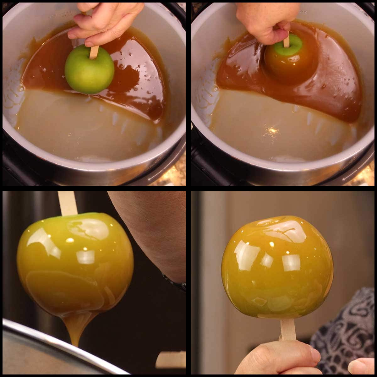 dipping the apple in caramel