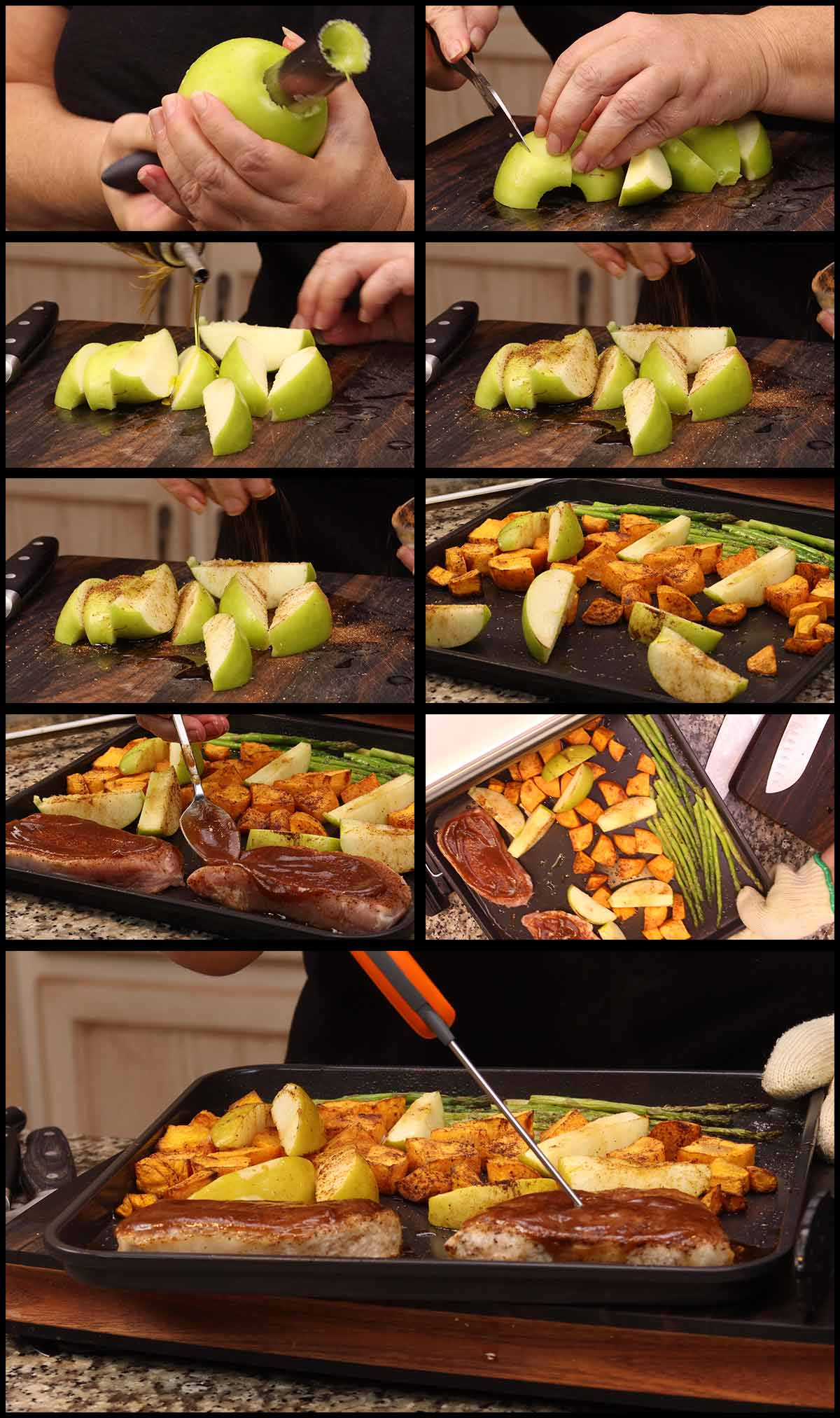 adding the apples and seasoned pork to the tray