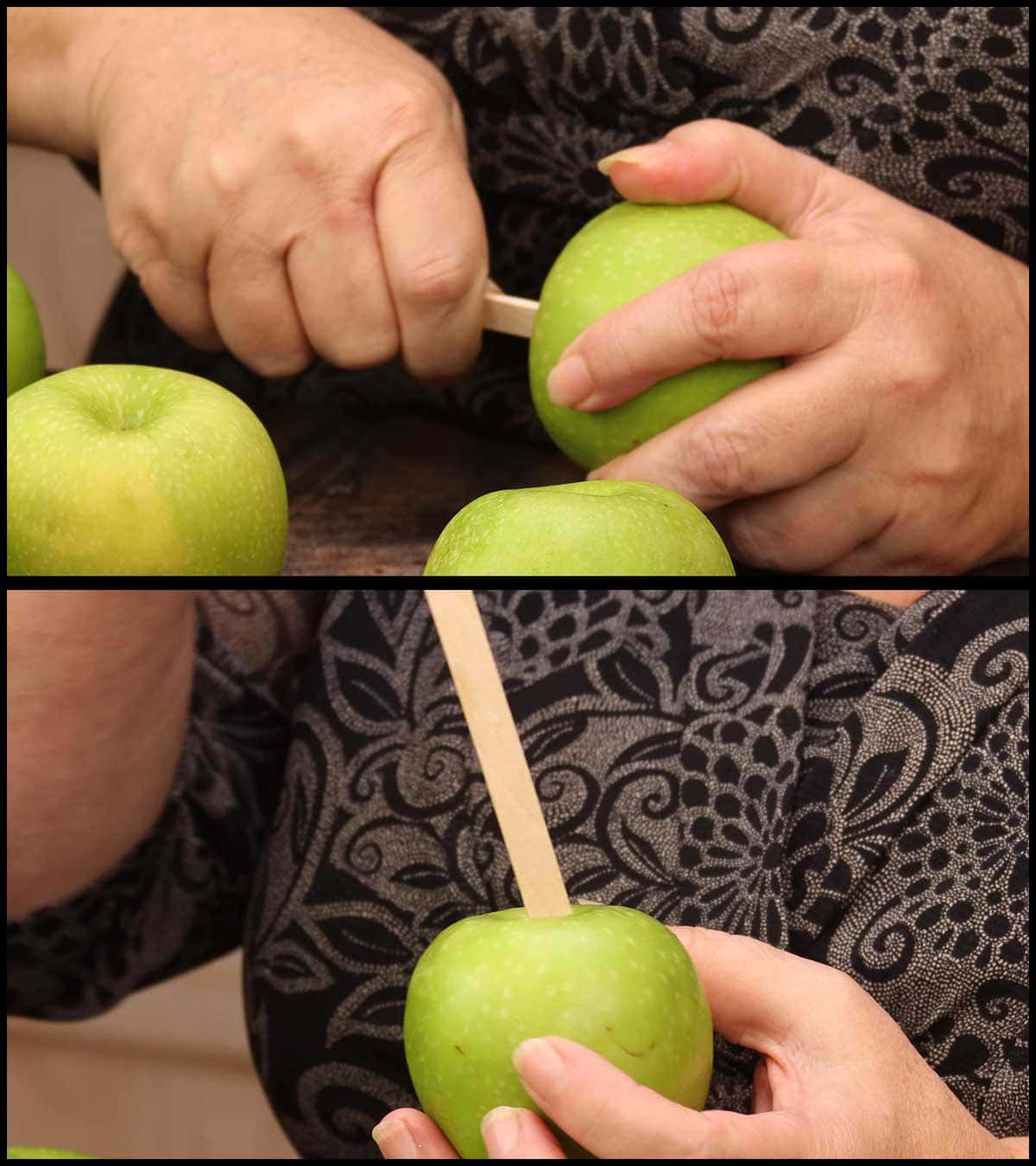 inserting popsicle sticks into apples for dipping