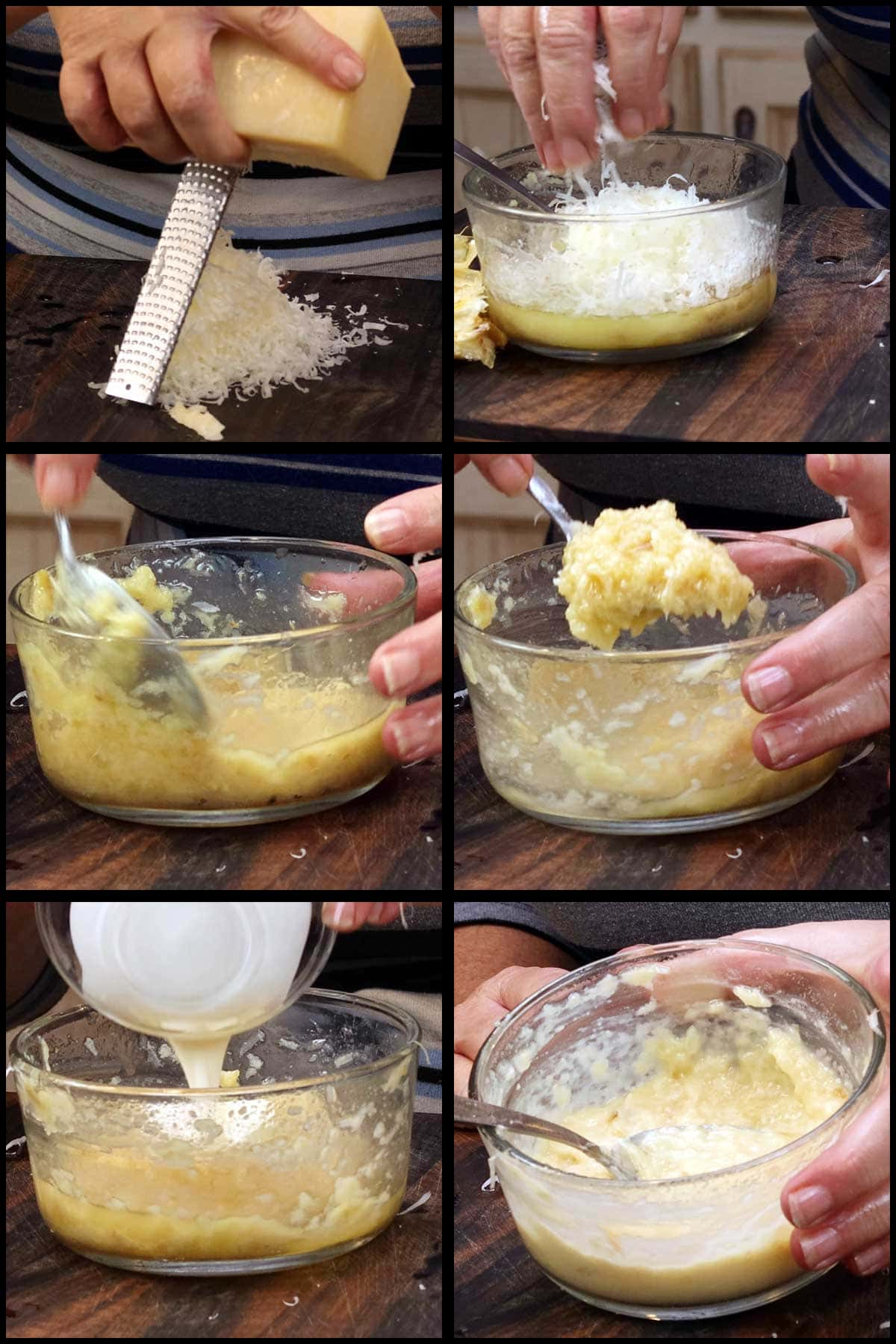 Adding cheese and cream to finish the garlic parmesan sauce