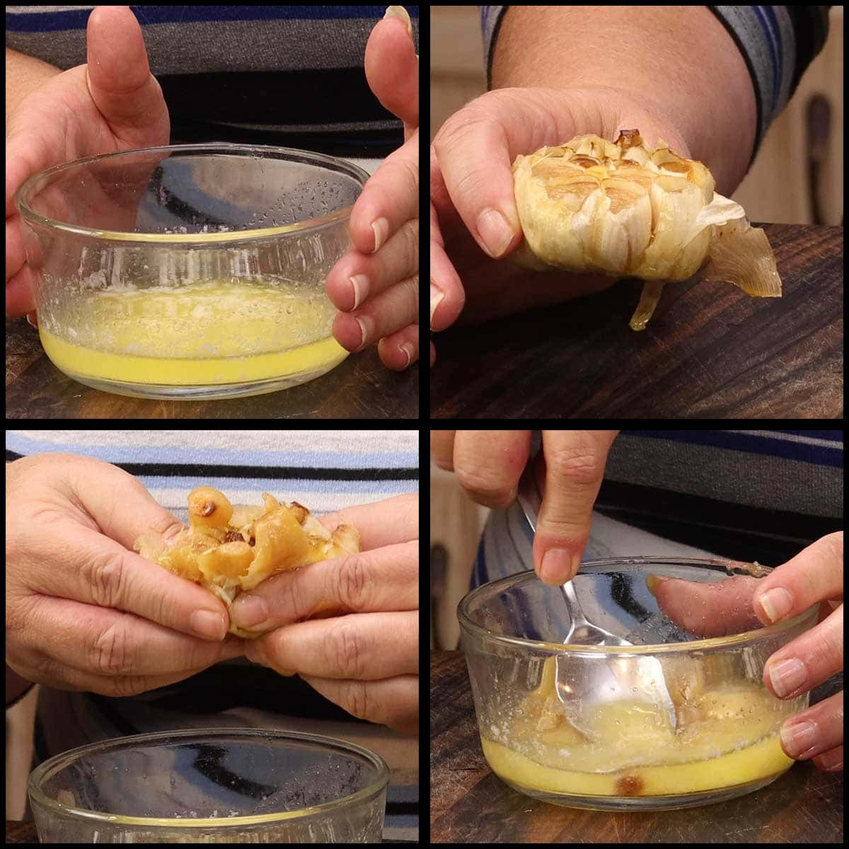 squeezing the roasted garlic into melted butter and making a paste