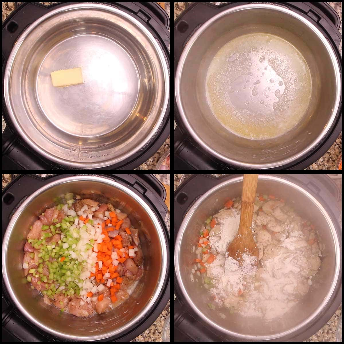 sauteing chicken and vegetables for slow cooker chicken stew