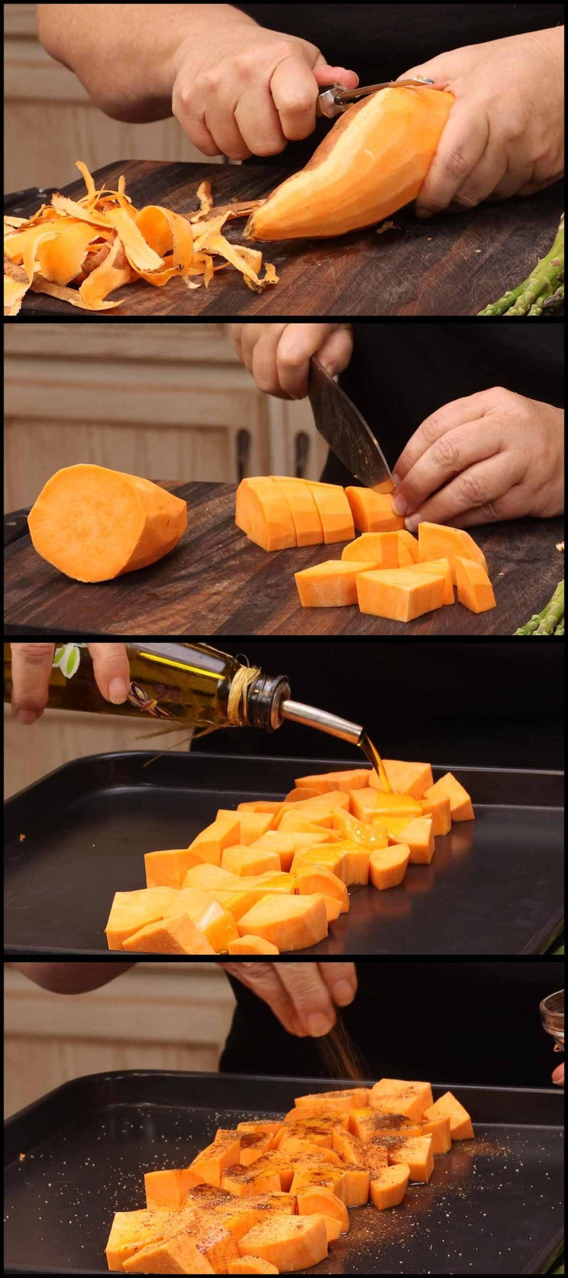 cutting and seasoning sweet potatoes