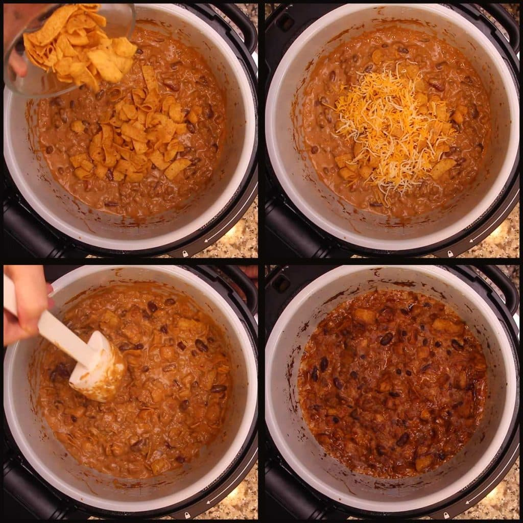 stirring in Fritos and cheese to bake Walking Taco Casserole