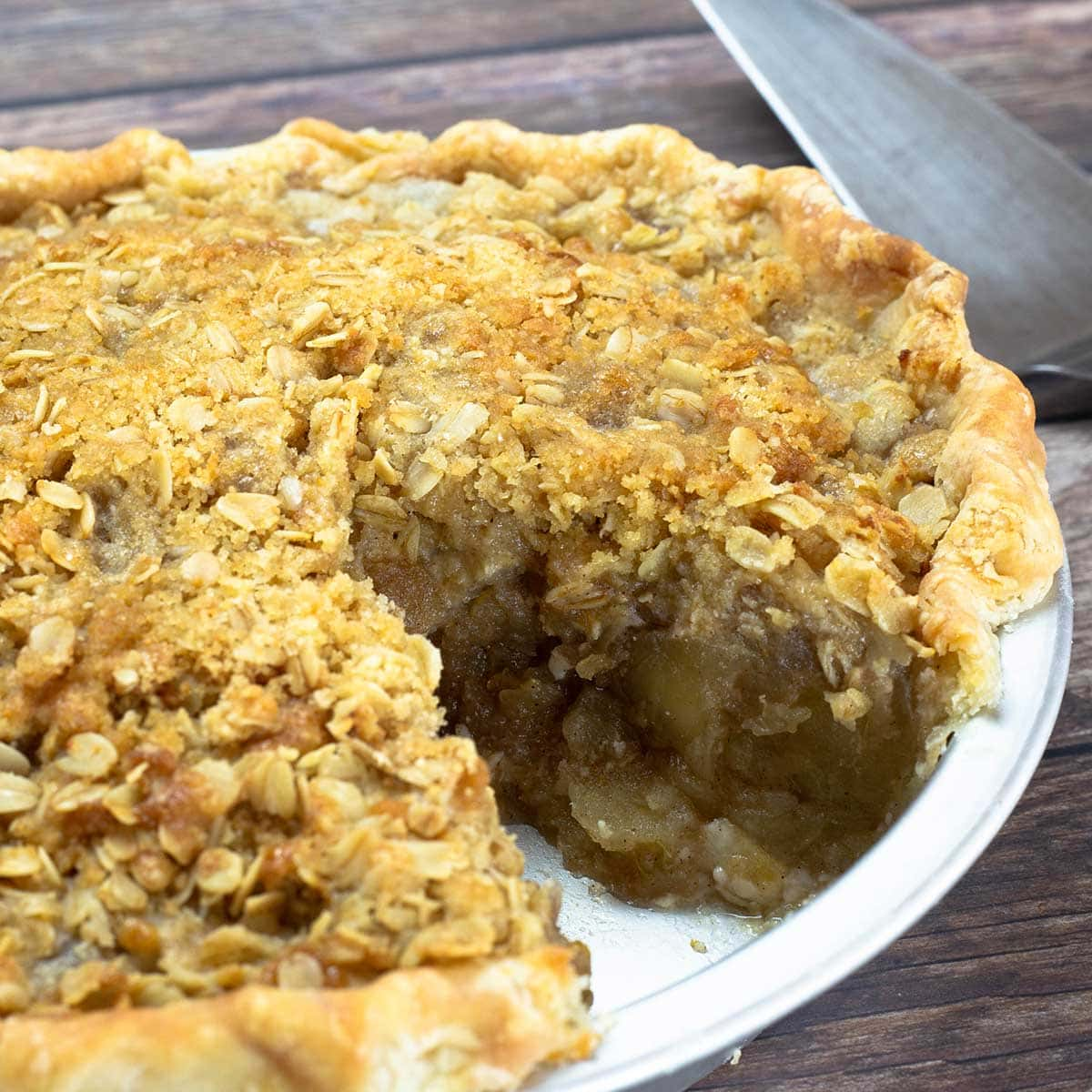 apple pie with a slice removed