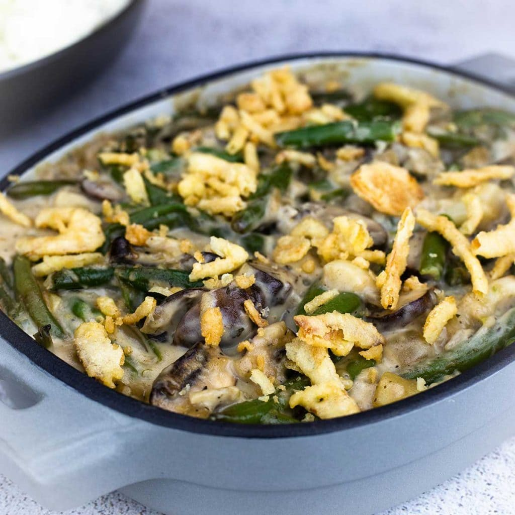 Green Bean Casserole in a blue serving dish