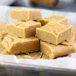 Old Fashioned Peanut Butter Fudge stacked on a tray