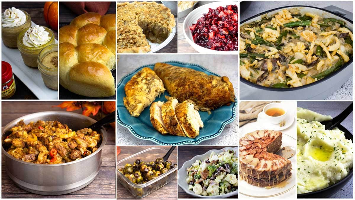 collage of Ninja Foodi Thanksgiving Recipes